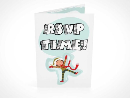 RSVP Card Front Cover Looking Down PSD Mockup