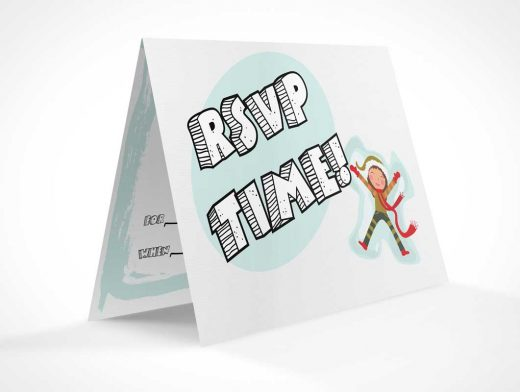 RSVP Invitation Card Rotated View PSD Mockup