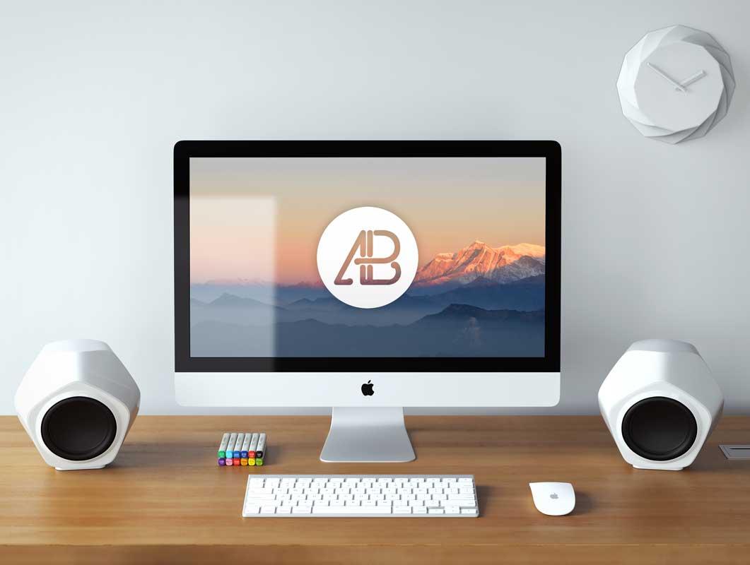 Realistic 5k iMac Desktop Workstation PSD Mockup
