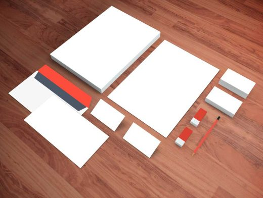 Realistic Stationery Perspective View PSD Mockup