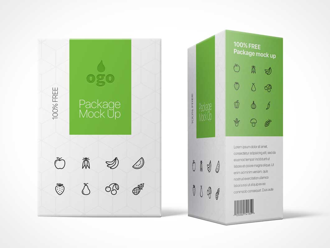 Rectangular Box Package Design Front & Side PSD Mockup - PSD Mockups