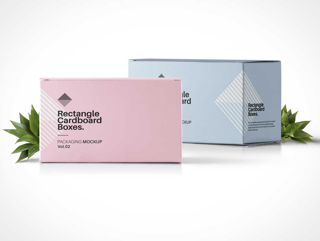Rectangular Box Product Packaging PSD Mockups