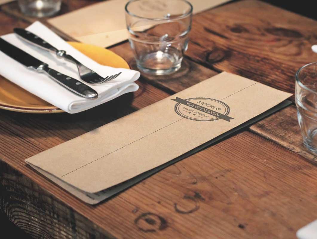Restaurant Pub Menu Tall Thin Format PSD Mockup - PSD Mockups