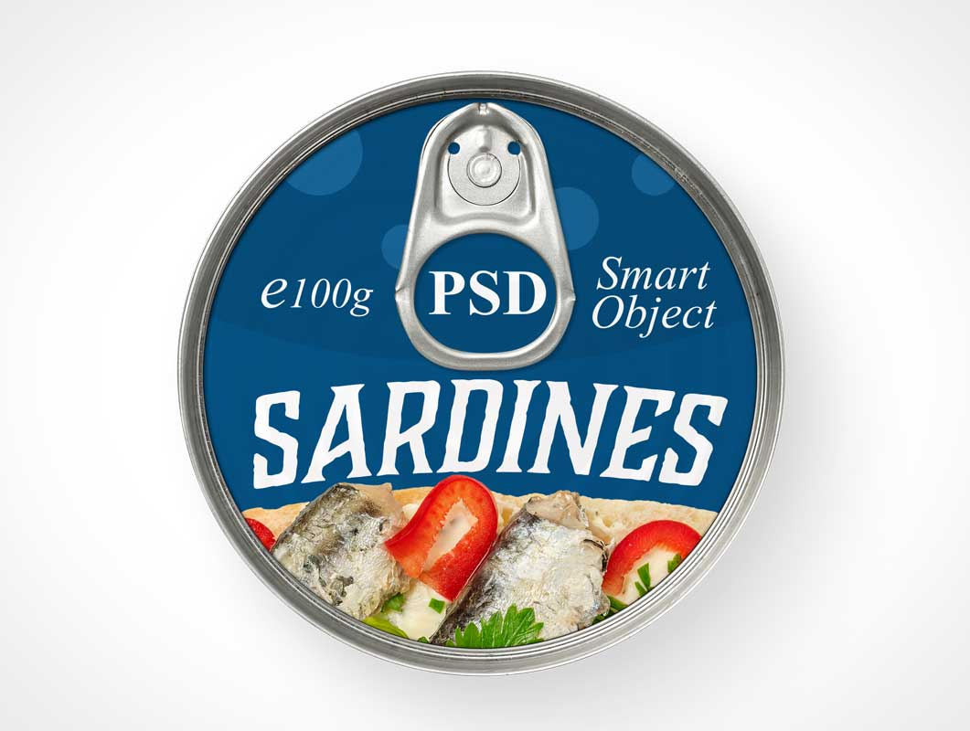 Round Tin Can Tuna Food PSD Mockup