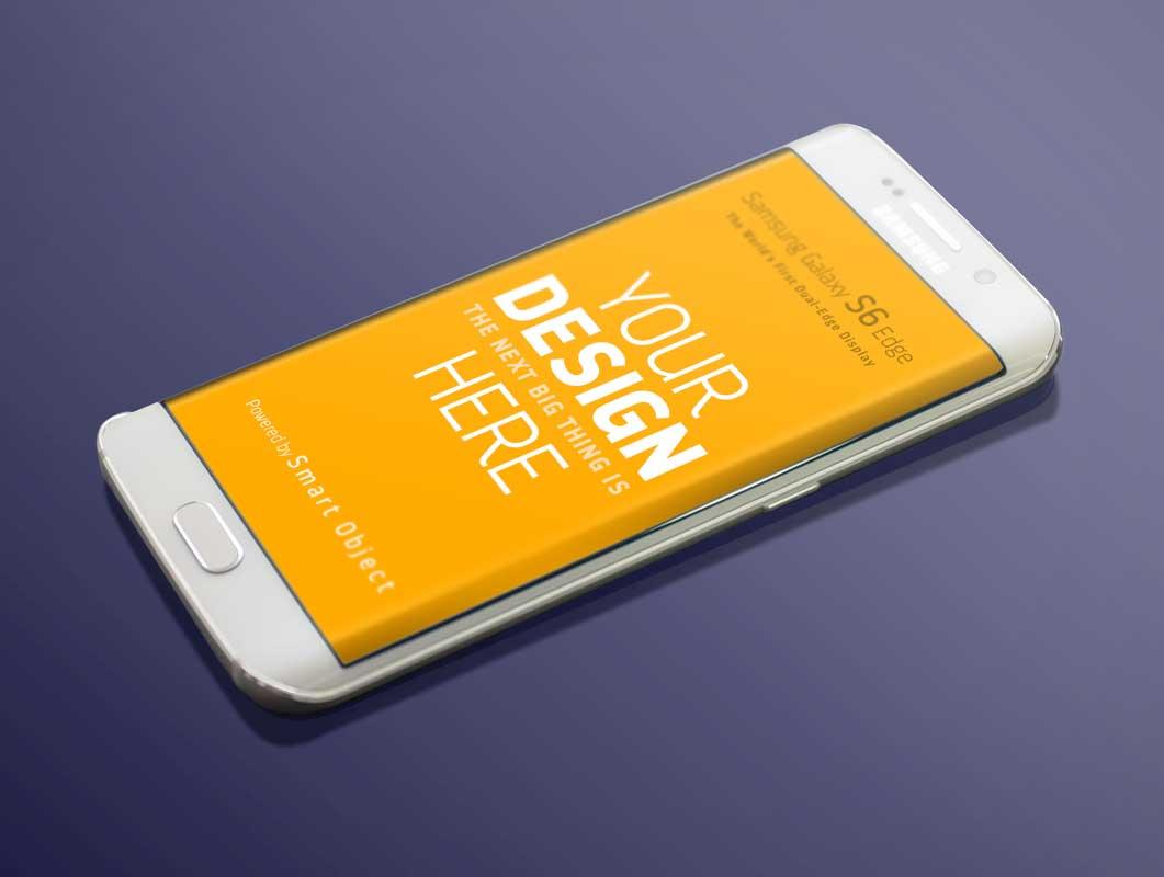 Samsung Galaxy S6 Edge Curved Screen PSD Mockup