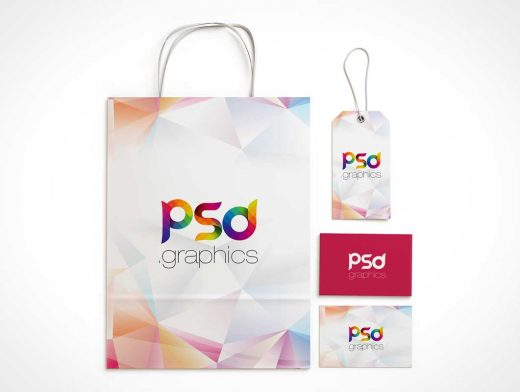 Shopping Bag & Label Brand Identity PSD Mockup