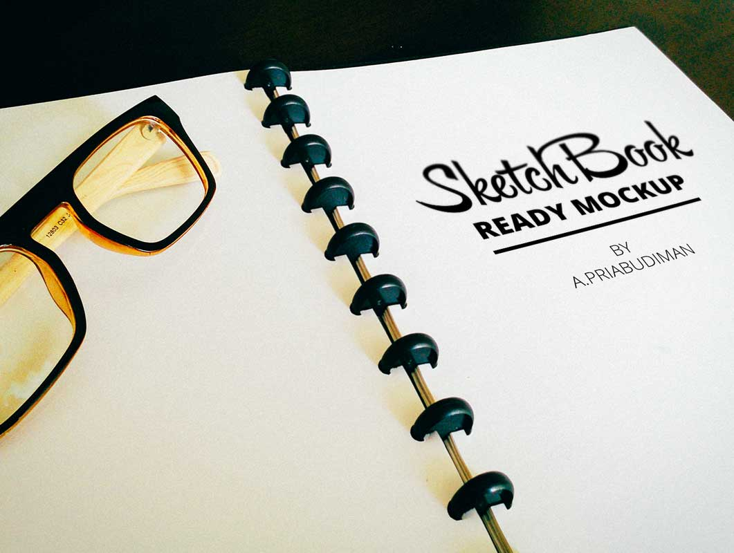 Sketchbook Realistic Ring-Bound & Eye Glasses PSD Mockup