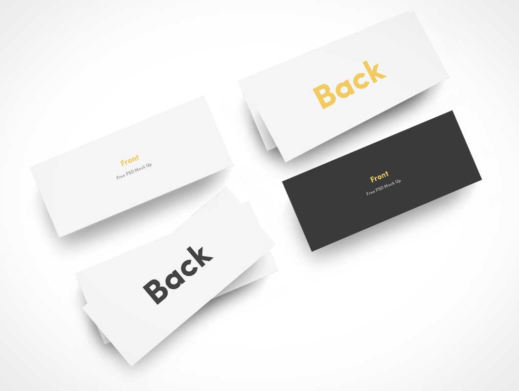 Slim Business Card Stacks Top View PSD Mockup - PSD Mockups