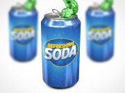 Soda Can Sugar Drink Explosion PSD Mockup