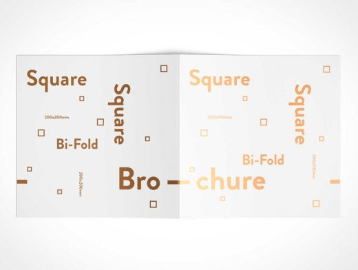 Square Bi-Fold Brochure Back Covers PSD Mockup