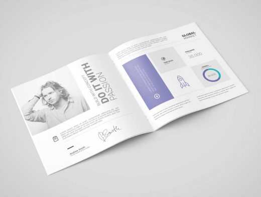 Square Brochure / Catalog PSD Mockups