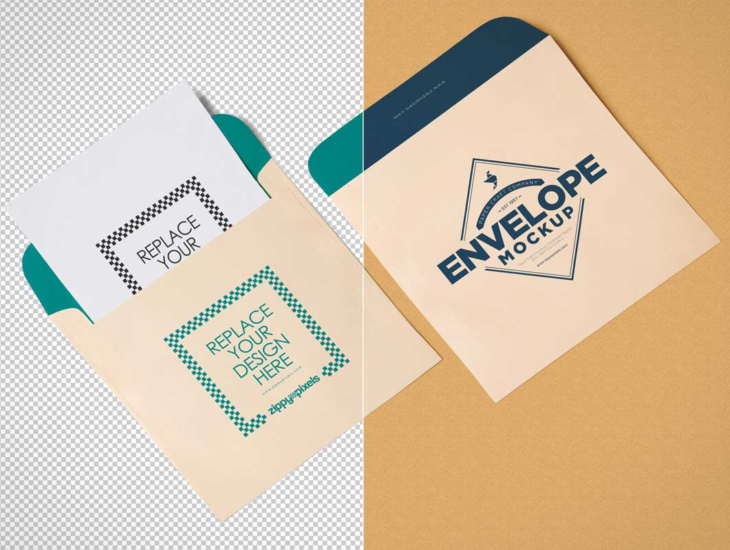 Square Shaped Tilted Envelopes & Letterhead PSD Mockup
