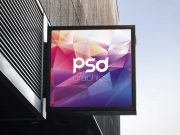 Square Signboard Outdoor Store Branding PSD Mockup