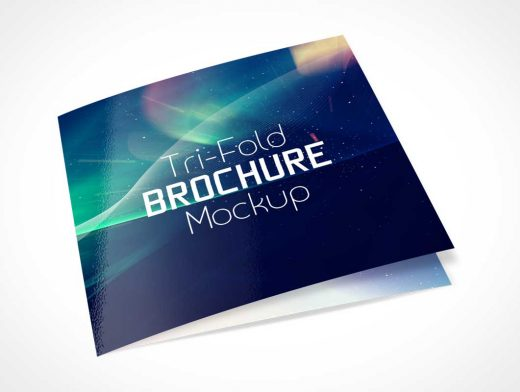 Square Tri-Fold Brochure Front Cover PSD Mockup