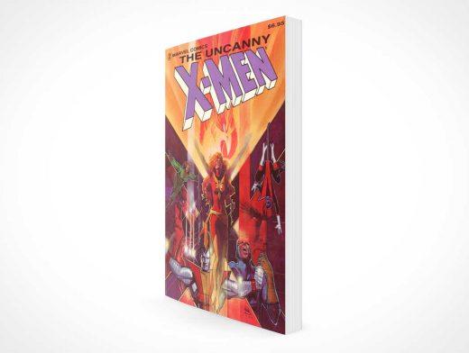 Standing Graphic Novel Book Facing Left PSD Mockup