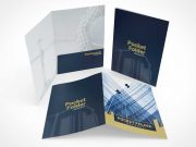 Standing Pocket Folders Front & Back Covers PSD Mockups