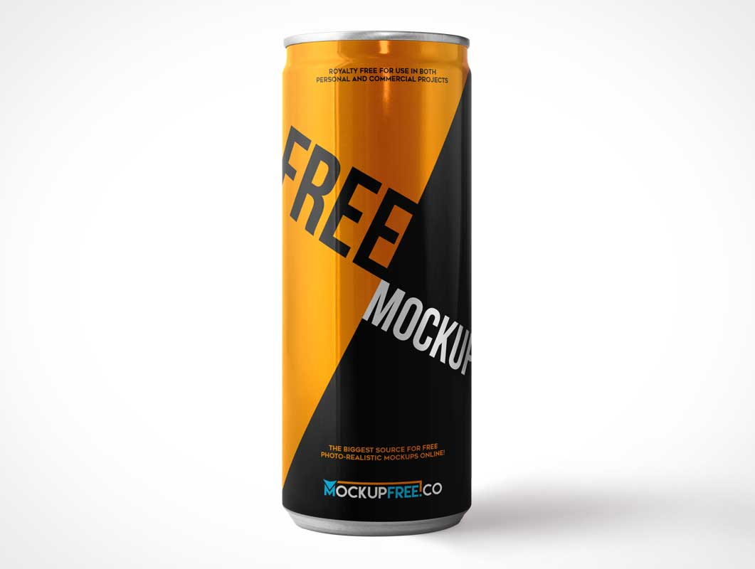 Standing Skinny Soda Can Front PSD Mockup