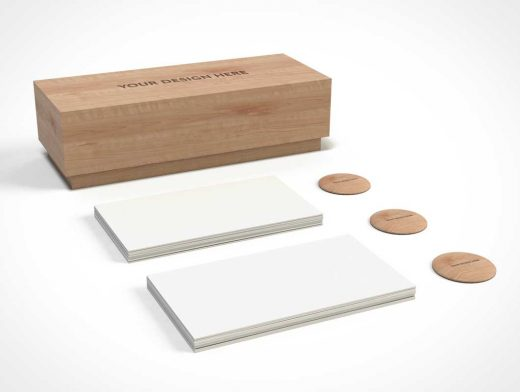 Stationery Business Card Box & Flair Badges PSD Mockup