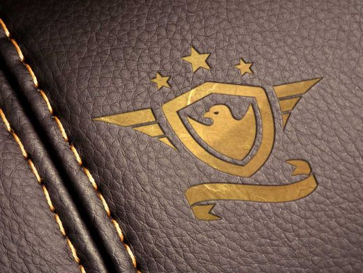 Stitched Leather & Gold Logo PSD Mockup