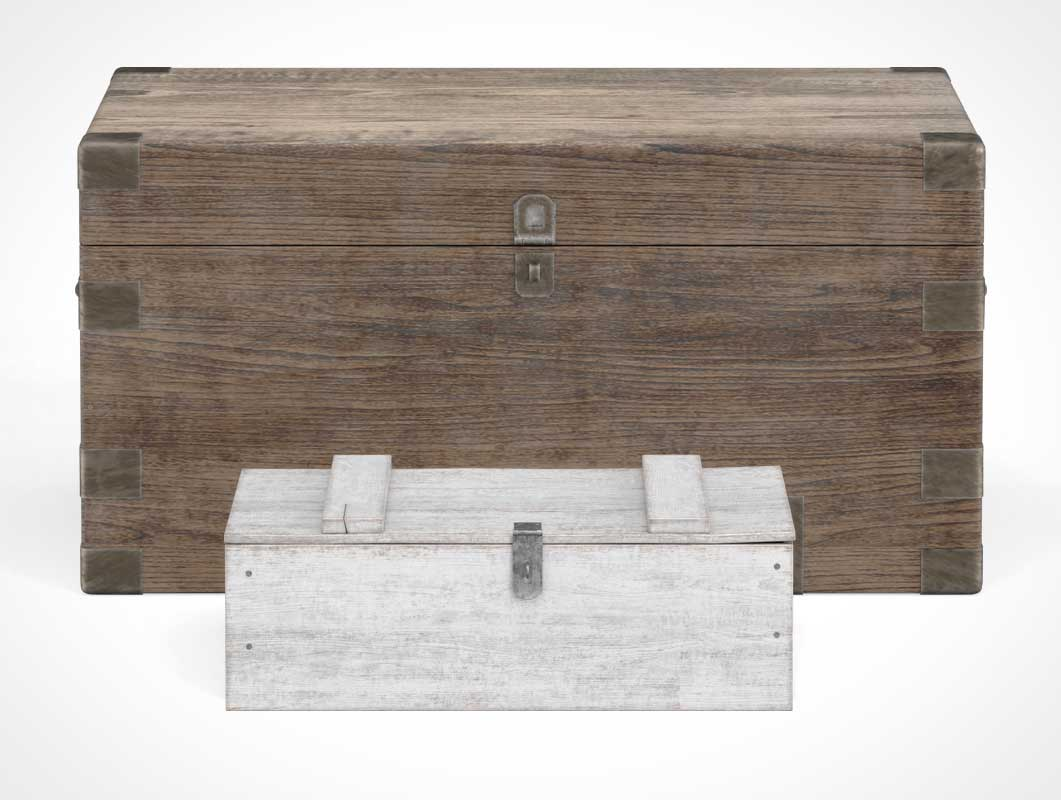 Storage Box Chest Set Front View PSD Mockup