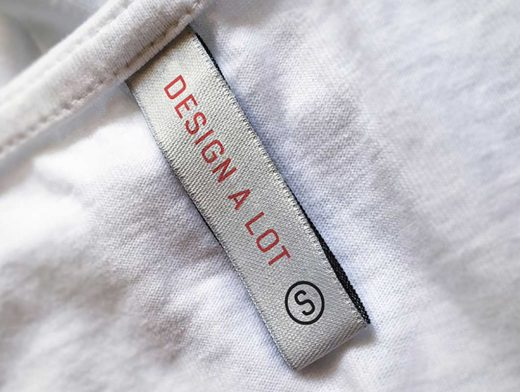 T-Shirt Collar Tag Label & Branding PSD Mockup