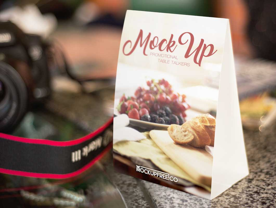 Table Talker Double-Sided Tri-Fold PSD Mockup