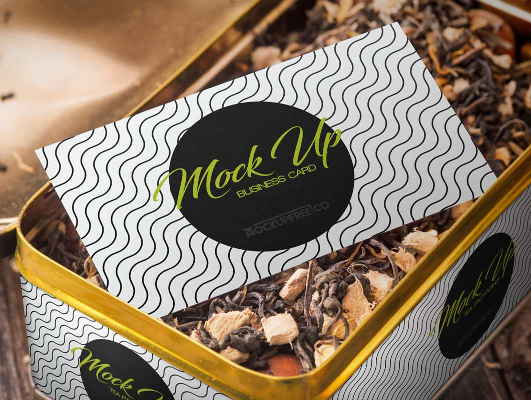Tea Tin Box Packaging & Business Card PSD Mockup