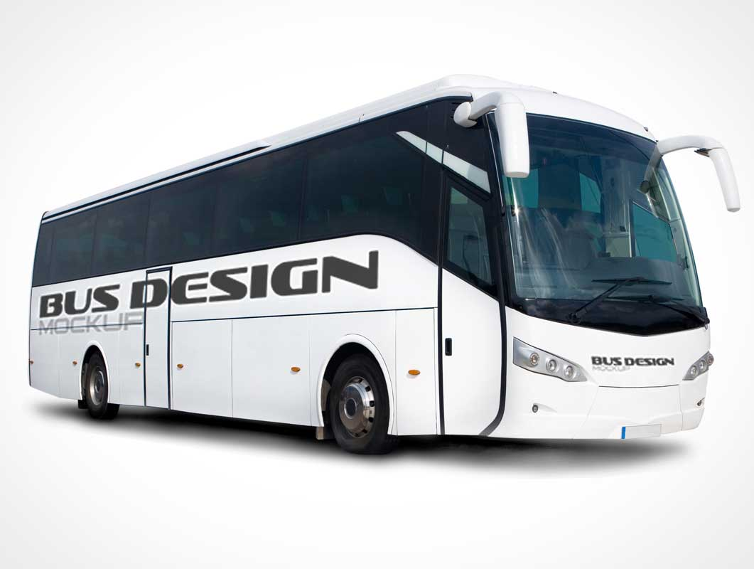 Tour Bus Front & Side Views PSD Mockup