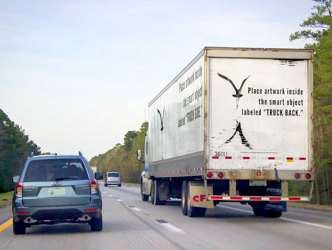 Transport Truck Latch Door Advertising PSD Mockup