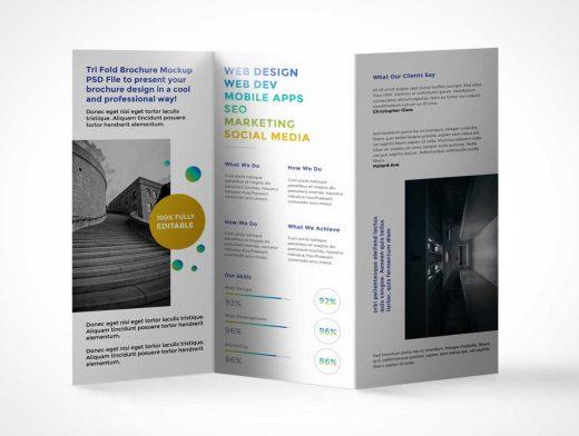 Tri-Fold Flyer Leaflet PSD Mockup