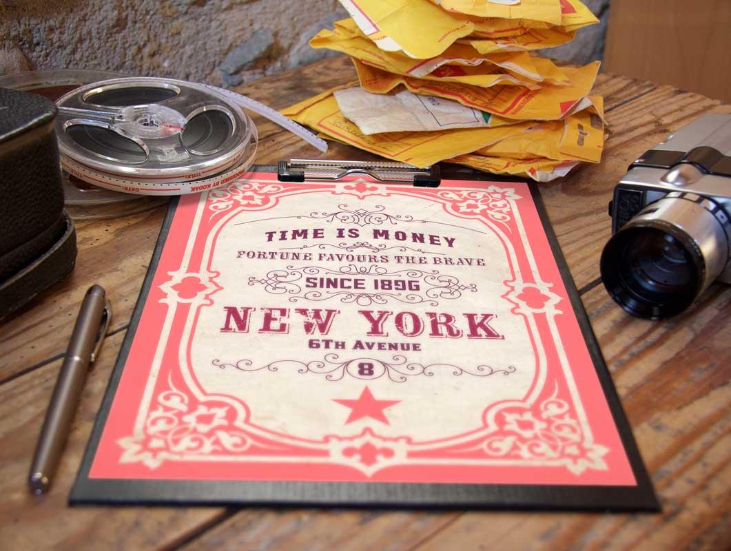 Vintage Poster Professional Shoot PSD Mockup