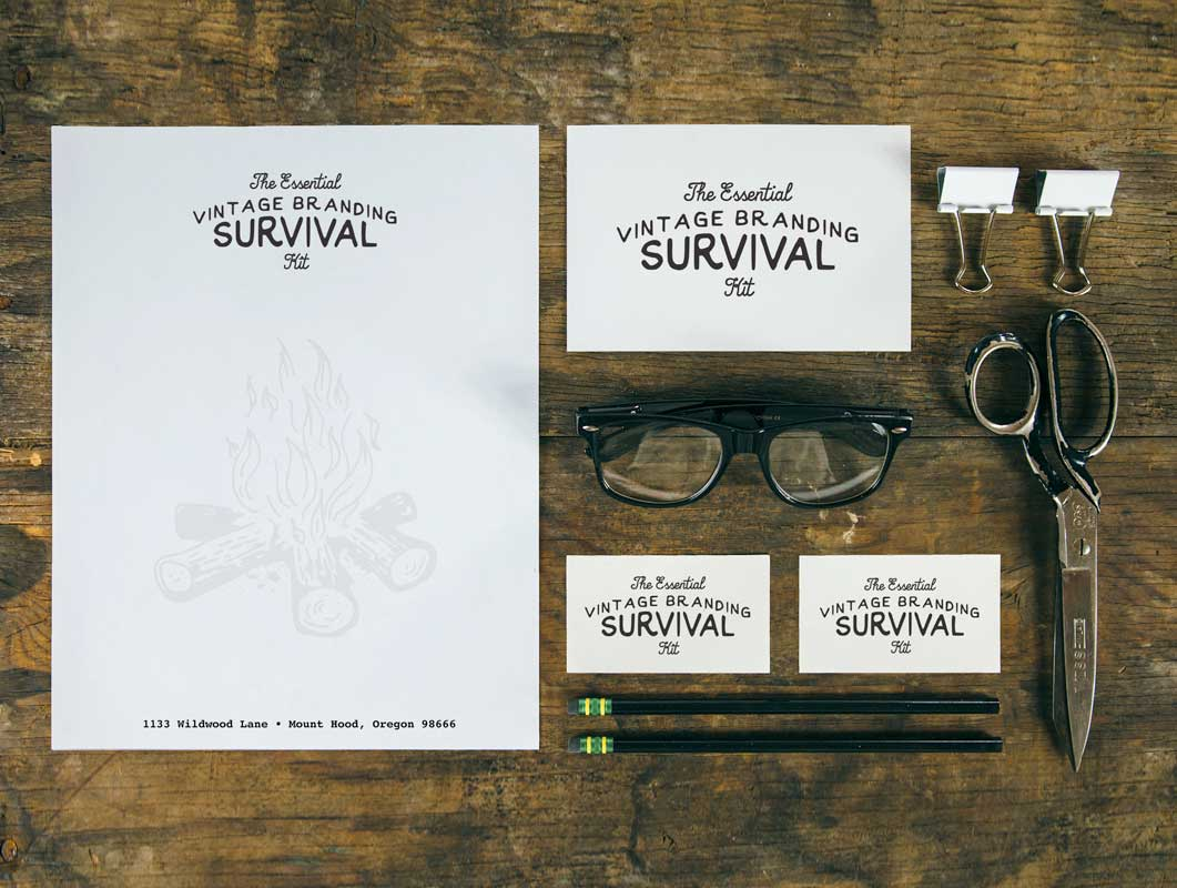 Vintage Stationery Survival Kit PSD Mockup