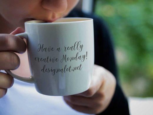 Woman Drinking Coffee & Mug PSD Mockup