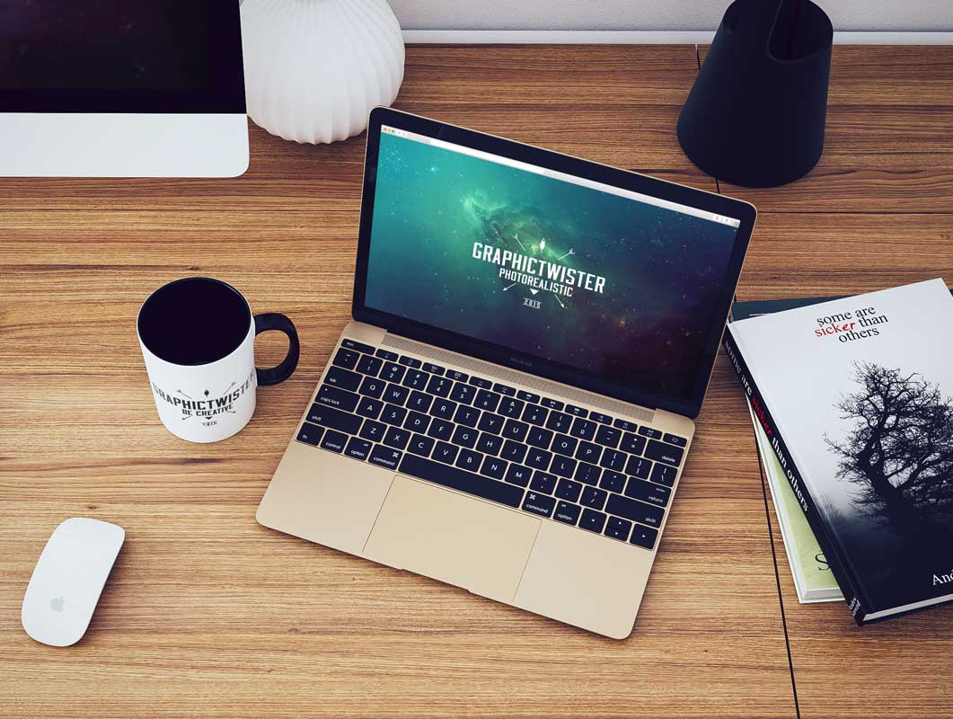 Workspace Laptop, Mug & Hardcover Books Top View PSD Mockup