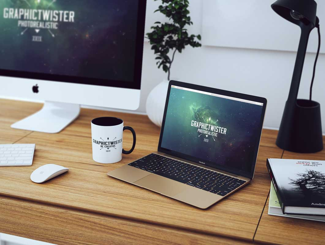 Workspace iMac & MacBook Home Office PSD Mockup