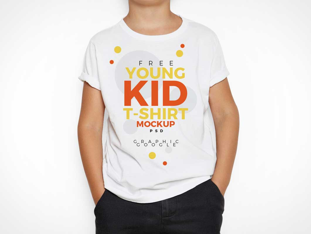 Young Kids T-Shirt Front View PSD Mockup