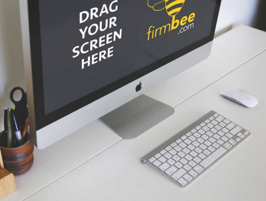 iMac & Keyboard Freelance Workspace PSD Mockup