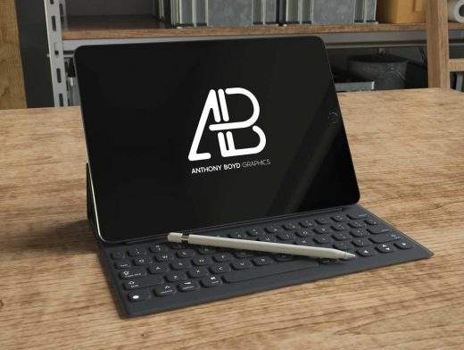 iPad Pro Realistic 3D Render With Pen & Keyboard Cover PSD Mockup