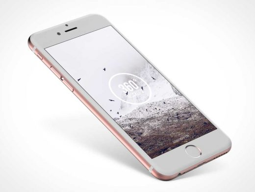 iPhone 6s Rose Gold Floating PSD Mockup