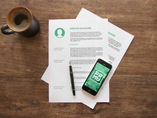 iPhone & Letterhead With Ceramic Mug Top View PSD Mockup