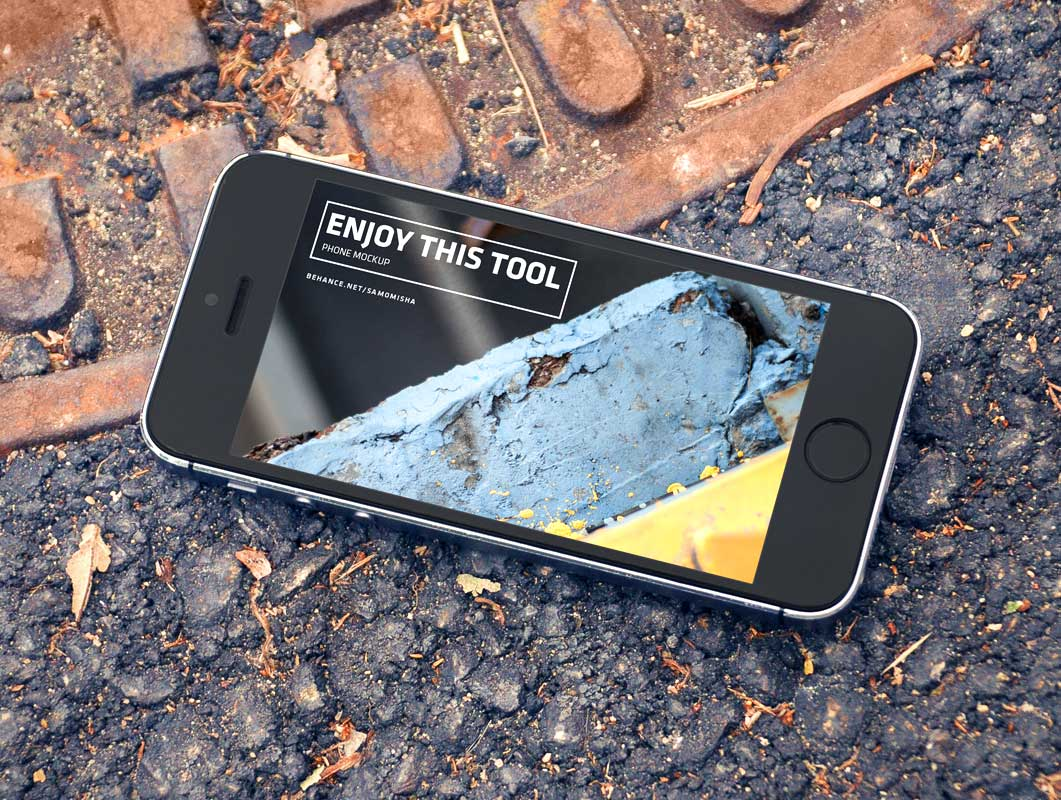 iPhone SE Urban Landscape Product Shot PSD Mockup