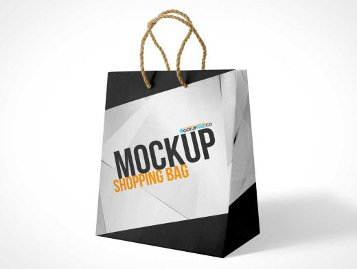 3 Boutique Paper Shopping Bag Sizes & Carry Handles PSD Mockup