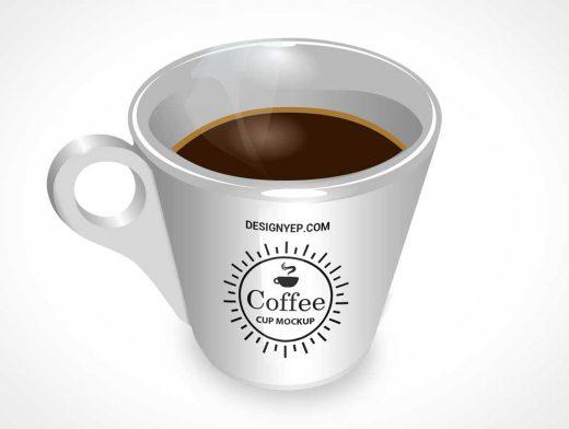 3D Glossy Coffee Mug PSD Mockup