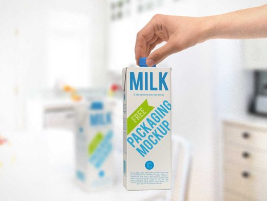 3D Rendered Milk Carton With Twist Cap Multiple Views PSD Mockup