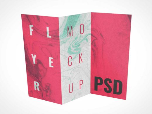 3D Tri-Fold Standing Brochure Flyer Inside Panels PSD Mockup