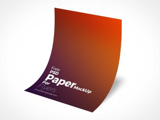 A4 Curved Paper Partially Floating PSD Mockup