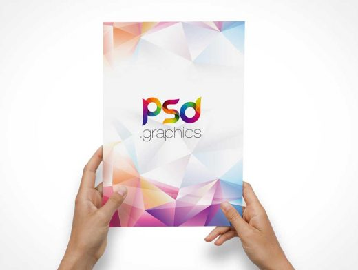 A4 Flyer Front Cover In Hand PSD Mockup