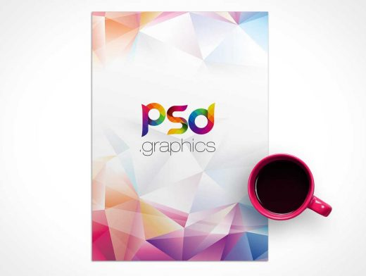 A4 Letterhead & Morning Coffee Mug PSD Mockup