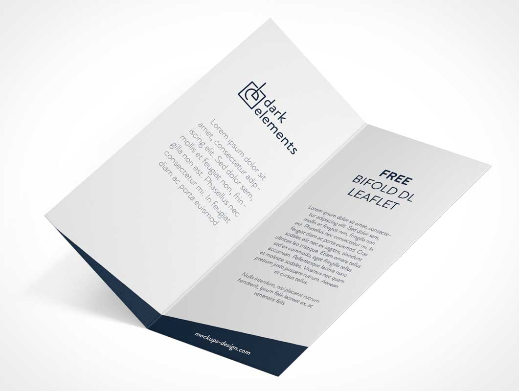 Bi-Fold DL Leaflet Inside Left & Right Panels PSD Mockup