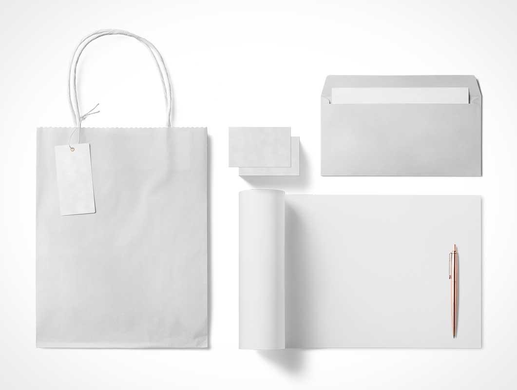 Boutique Stationery Bag, Letterhead, Envelope & Business Card PSD Mockup